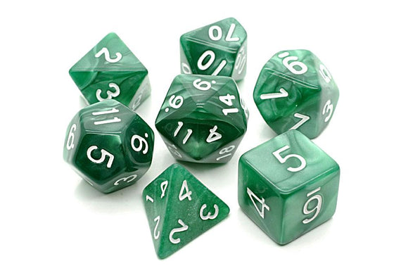 PEARL POLYHEDRAL 7-DIE SET - GREEN/WHITE