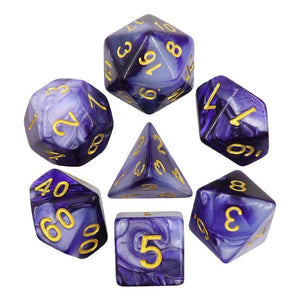 ELEMENTAL POLYHEDRAL 7-DIE SET - DARK PURPLE/WHITE