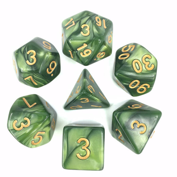 PEARL POLYHEDRAL 7-DIE SET - GRASS GREEN/GOLD