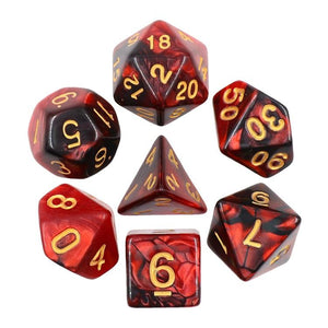 ELEMENTAL POLYHEDRAL 7-DIE SET - PEARLESCENT BLACK RED