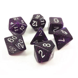 GALAXY POLYHEDRAL 7-DIE SET - DARK PURPLE/WHITE