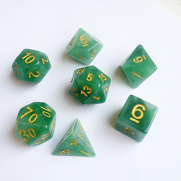 JADE POLYHEDRAL 7-DIE SET - GREEN/GOLD