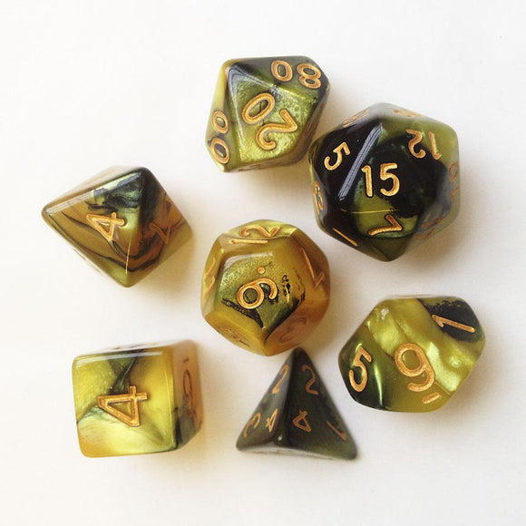 ELEMENTAL POLYHEDRAL 7-DIE SET - GOLD/BLACK/GOLD