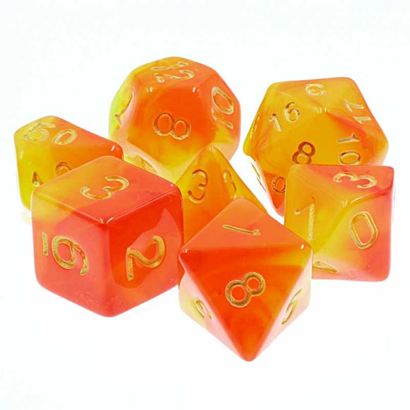 ELEMENTAL POLYHEDRAL 7-DIE SET - RISING PHOENIX RED/YELLOW