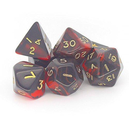 OBLIVION POLYHEDRAL 7-DIE SET - RED/GOLD