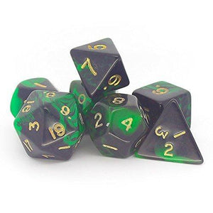 OBLIVION POLYHEDRAL 7-DIE SET - GREEN/GOLD