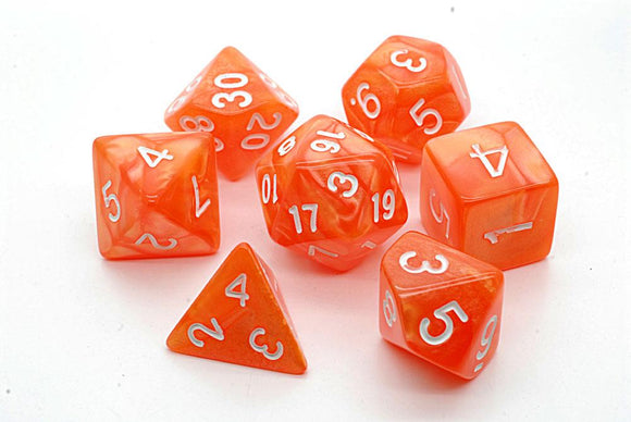 PEARL POLYHEDRAL 7-DIE SET - ORANGE/WHITE