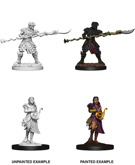 DUNGEONS & DRAGONS NOLZUR'S MARVELOUS UNPAINTED MINIATURES YUAN-TI PUREBLOODS ADVENTURERS (2 FIGURES)