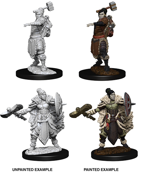 DUNGEONS & DRAGONS NOLZUR'S MARVELOUS UNPAINTED MINIATURES HALF-ORC FEMALE BARBARIAN (2 FIGURES)