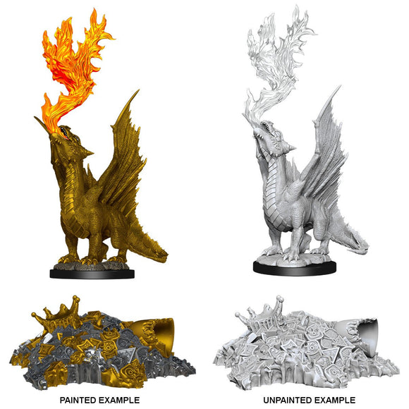 D&D NOLZUR'S MARVELOUS MINIATURES GOLD DRAGON WYRMLING & SMALL TREASURE PILE