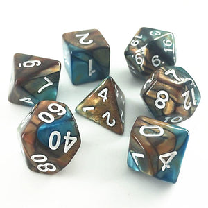 ELEMENTAL POLYHEDRAL 7-DIE SET - COPPER/BLUE/WHITE