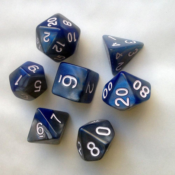 ELEMENTAL POLYHEDRAL 7-DIE SET - STEEL/BLUE