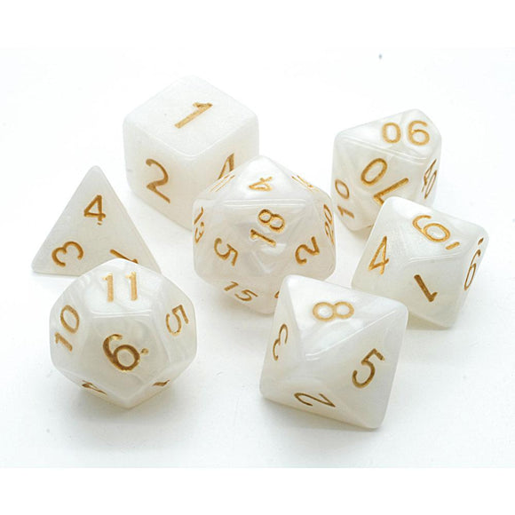 PEARL POLYHEDRAL 7-DIE SET - WHITE/GOLD
