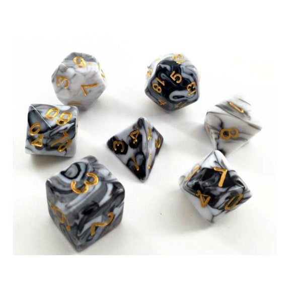 ELEMENTAL POLYHEDRAL 7-DIE SET - WHITE/BLACK/GOLD