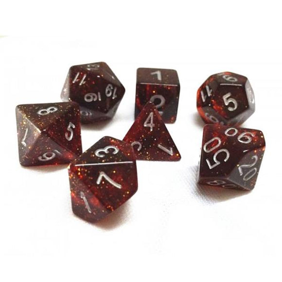 GALAXY POLYHEDRAL 7-DIE SET - DARK RED/WHITE