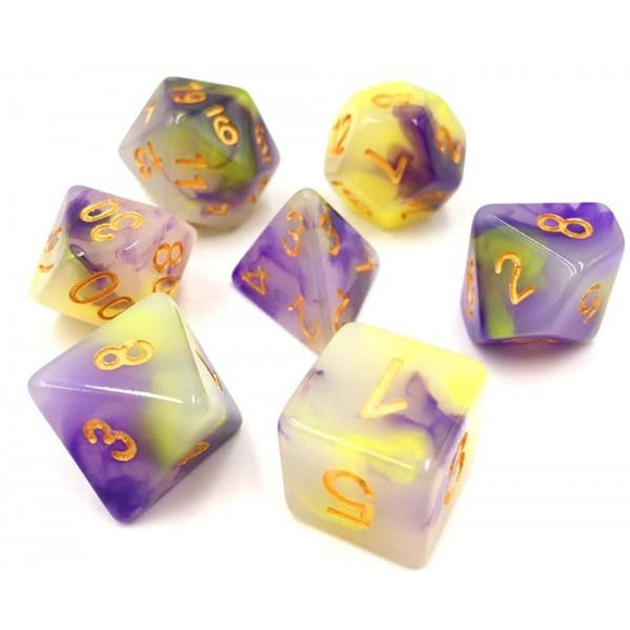 OPAL POLYHEDRAL 7-DIE SET - YELLOW/PURPLE