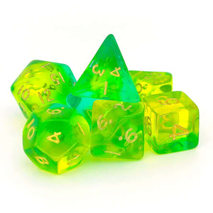 GEM BLITZ POLYHEDRAL 7-DIE SET - GREEN/AQUA/GOLD