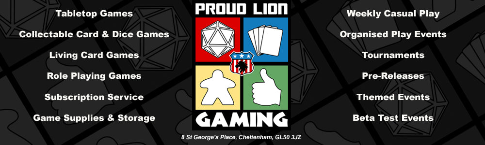 Proud Lion Gaming, for all your tabletop gaming needs!
