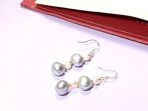 CONNECTED BY SELF-LOVE - Grey pearls Earring - 925 sterling silver - Love Letter Jewelry