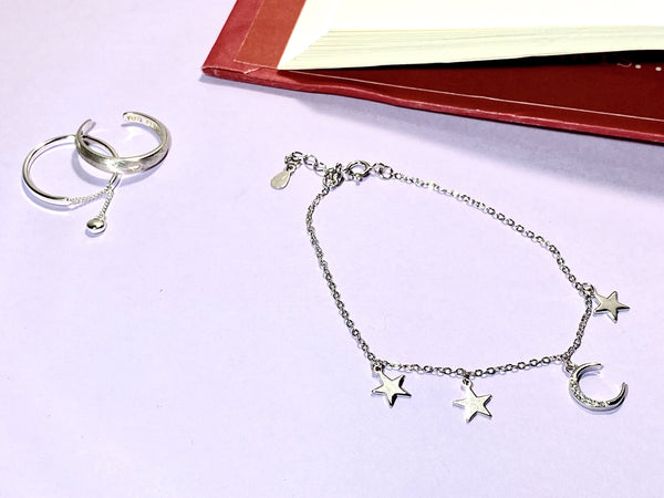 THE MOON AND STARS - Love Letter Jewelry - 925 Sterling Silver Jewelry - Organic Pearl Jewelry