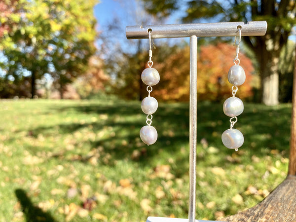 THREE IS THE MAGIC NUMBER - Love Letter Jewelry - 925 Sterling Silver Jewelry - Organic Pearl Jewelry