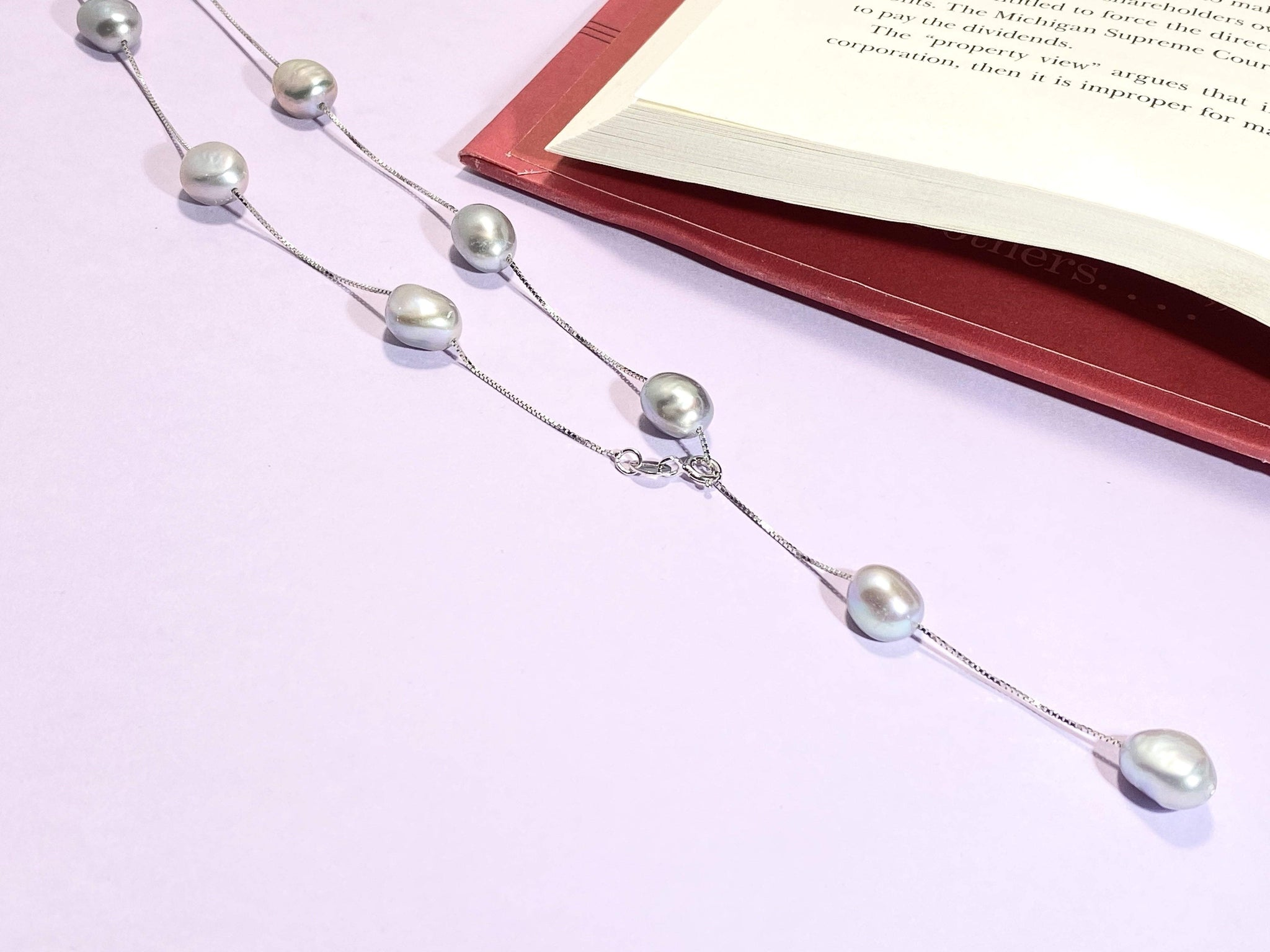 BOUGIE IN GRAY - Gray - Grey - Pearl Necklace - Love Letter Jewelry