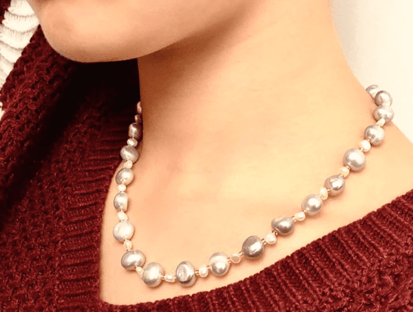 CONNECTED BY SELF-LOVE - Gray pearl necklaces - Grey pearl necklaces - Love Letter Jewelry
