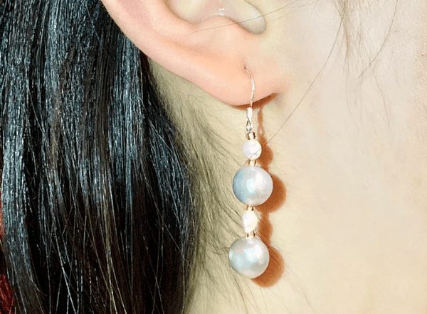 CONNECTED BY SELF-LOVE - Gray pearls Earring - Love Letter Jewelry