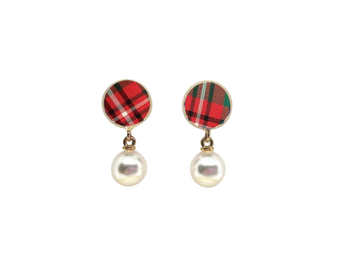 Red Plaid Studs with Drop Pearls