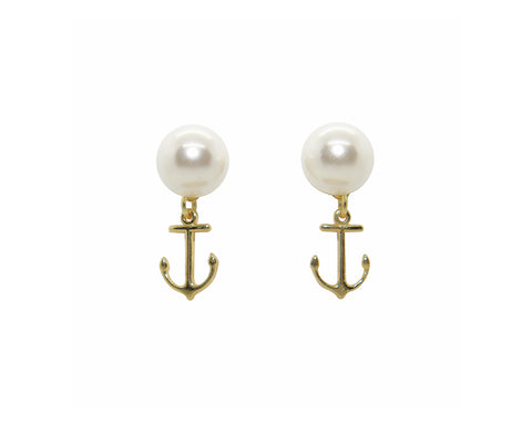 Drop Anchor Pearl Studs