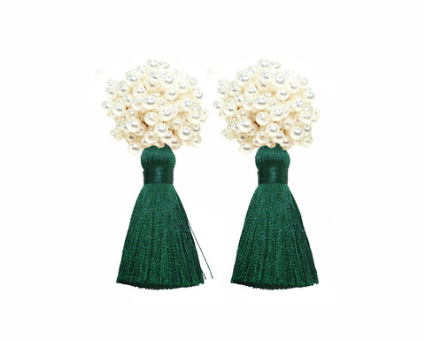 Bubble Pearl Tassel Earrings | Jade