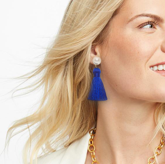 Pearl Tassel Earrings | Classic Blue