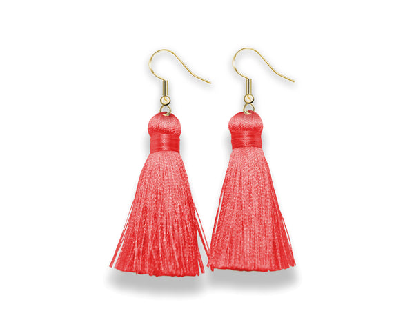 Dangle Tassel Earrings | Bright Coral