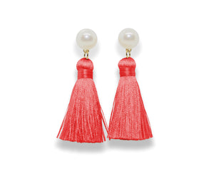 Pearl Tassel Earrings | Bright Coral