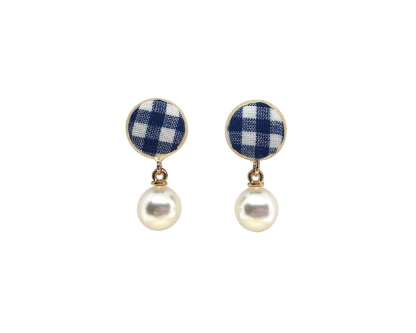 Gingham Studs with Drop Pearls