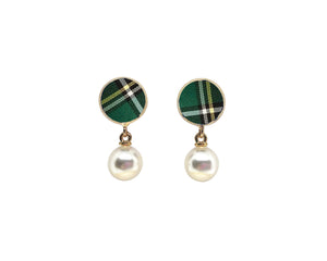 Green Plaid Studs with Drop Pearls