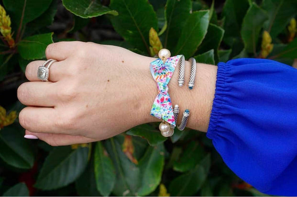 Lilly Pulitzer Inspired Bow Pearl Bracelet | Catch the Wave