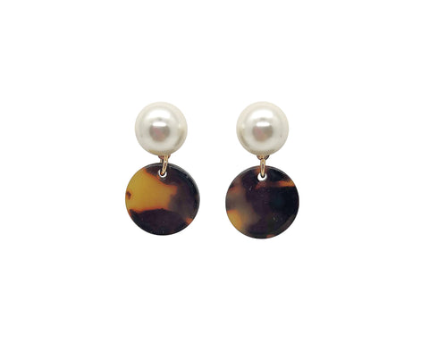 Pearl Stud Tortoise Drop Earrings | Small