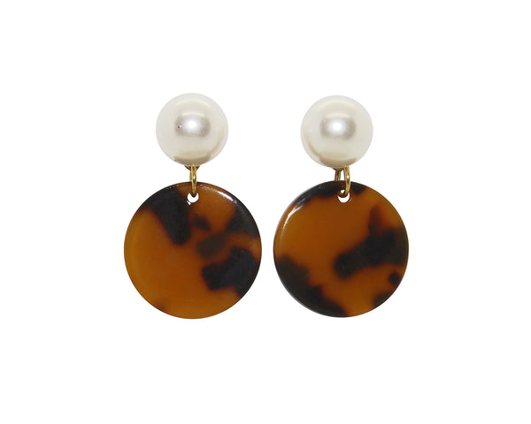 Pearl Stud Tortoise Drop Earrings | Large