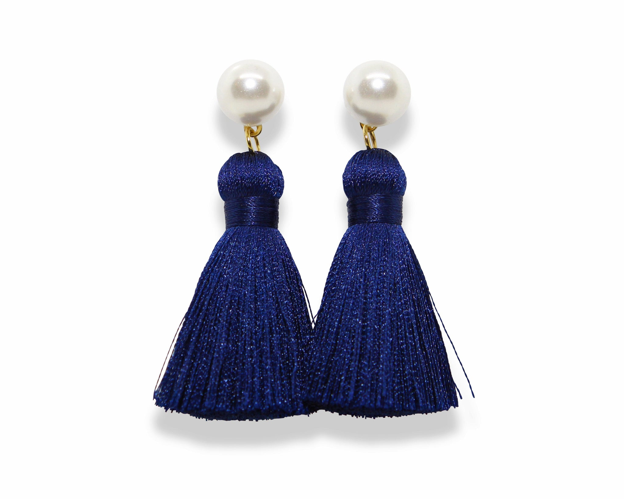 Pearl Tassel Earrings | Navy