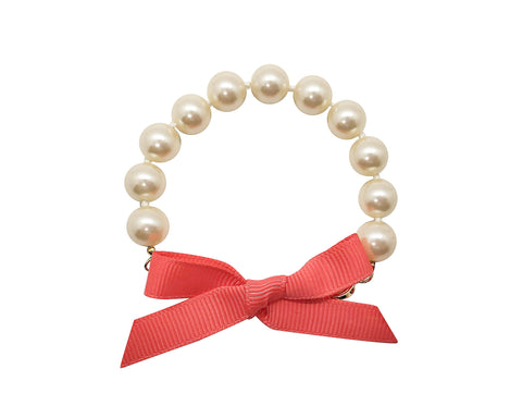 Bright Coral Bow Pearl Bracelet