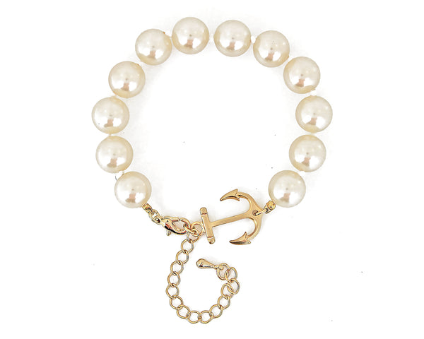 Drop Anchor Pearl Bracelet