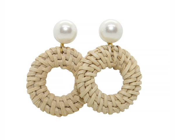 Pearl Stud Earrings with Rattan Circle
