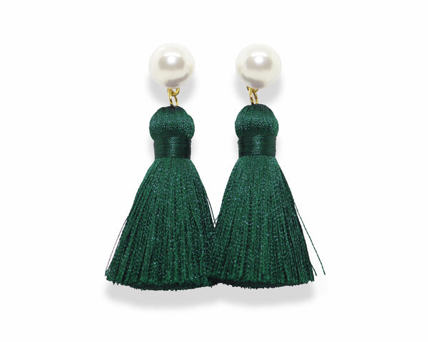 Pearl Tassel Earrings | Jade