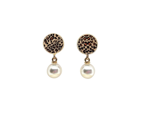 Leopard Studs with Drop Pearls