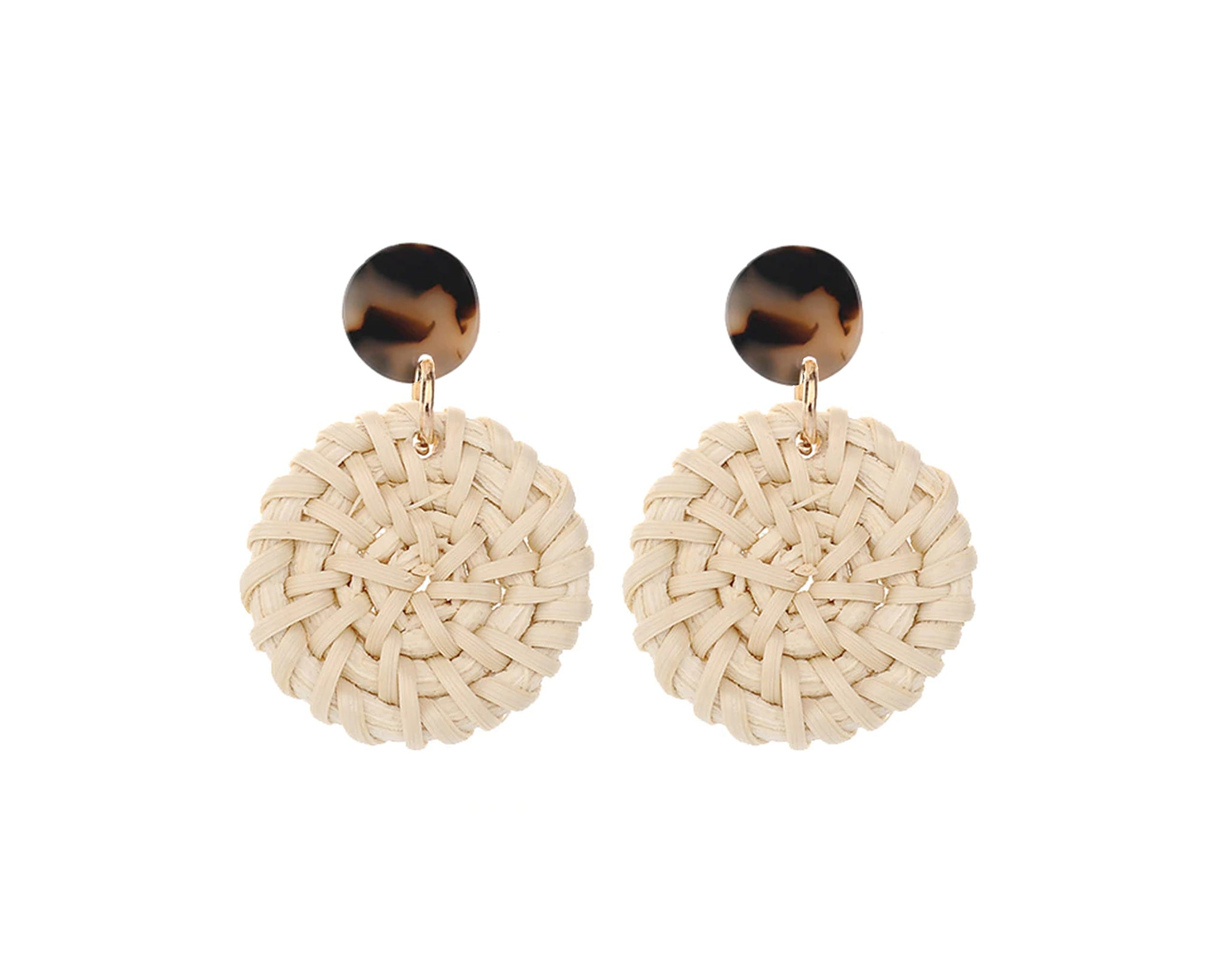 Light Tortoise Studs with Large Rattan Charm