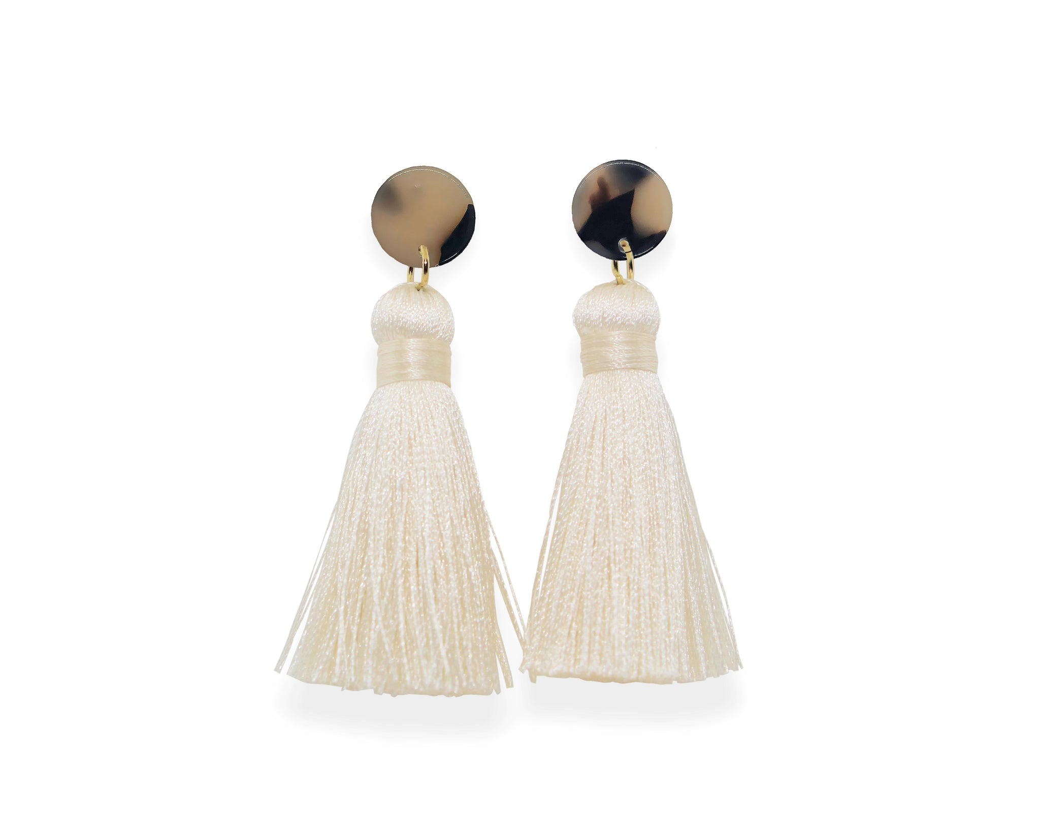Light Tortoise Tassel Earrings
