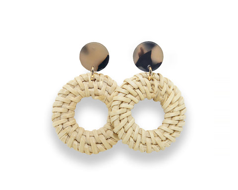 Light Tortoise Stud Earrings with Rattan Charm