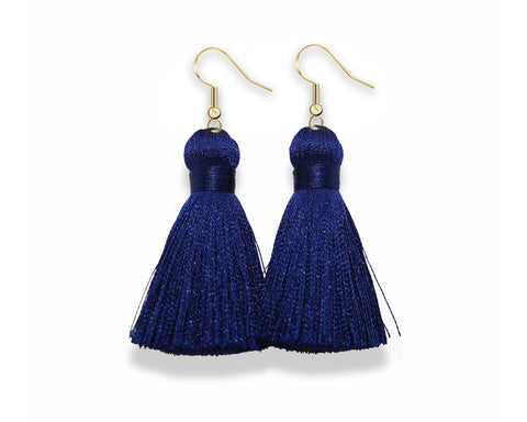 Dangle Tassel Earrings | Navy