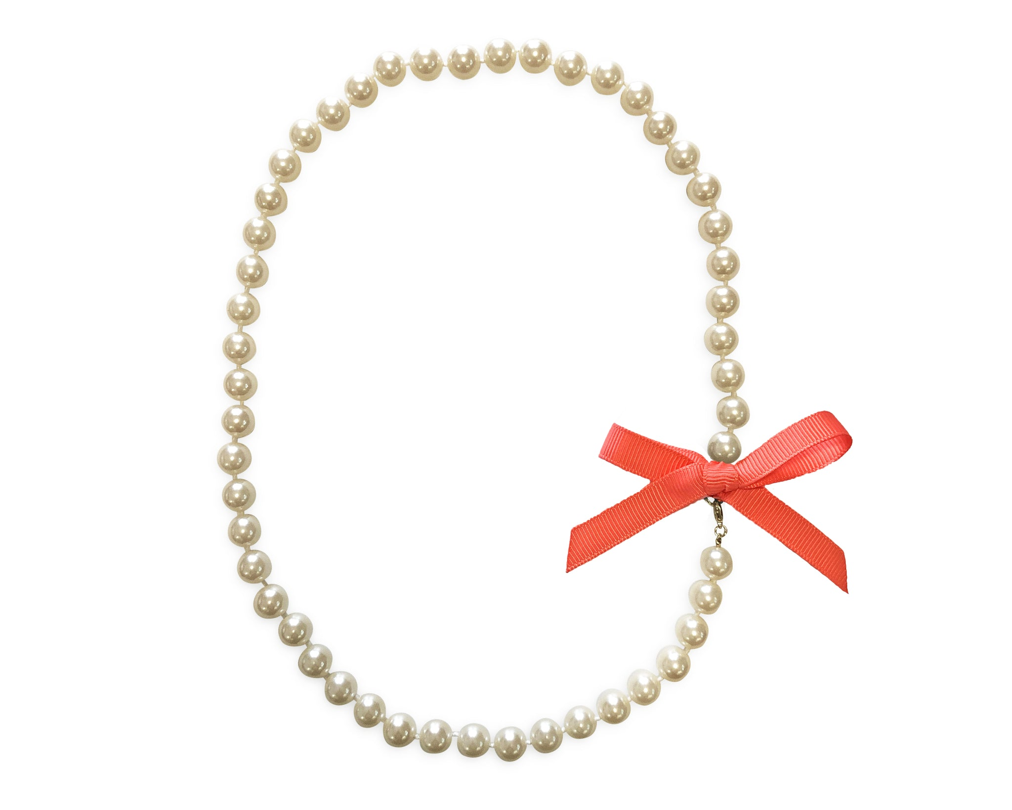 Bright Coral Bow Pearl Necklace